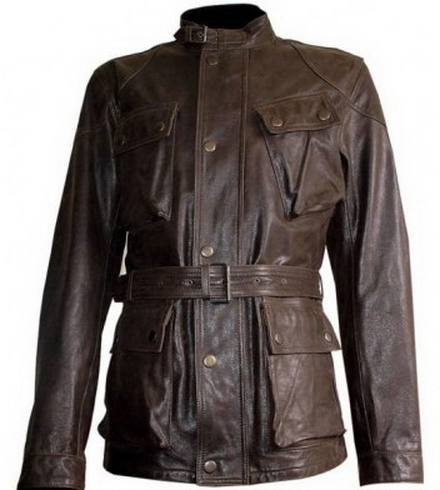 Men's Military Rider Leather Jacket on Luulla