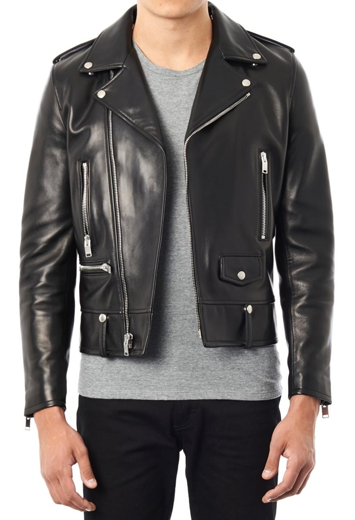 Black Biker Leather Jacket Men - Coat Nj