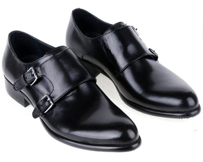 Customized Handmade Black Color Monk Leather Men's Dress Shoes ...