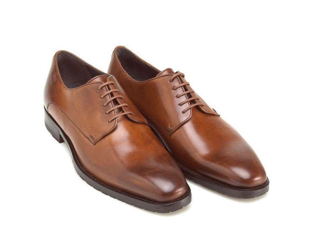 handmade brown oxford dress shoes with laces 2 tone
